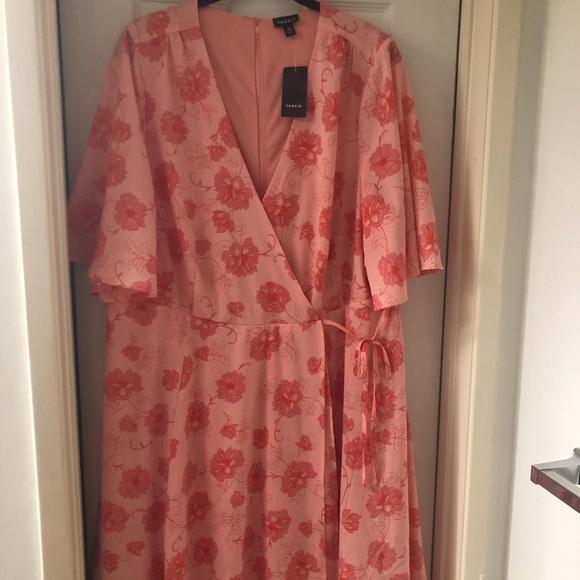 torrid Dresses & Skirts - Coral floral print georgette wrap dress NWT
